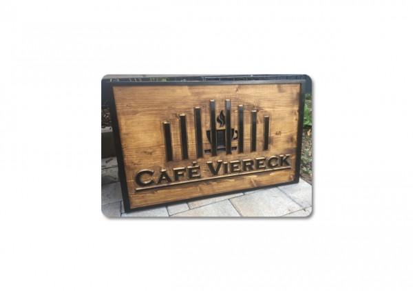 Holzschild - Café Viereck