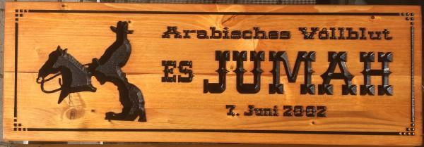 Holzschild - Pferdebox Jumah